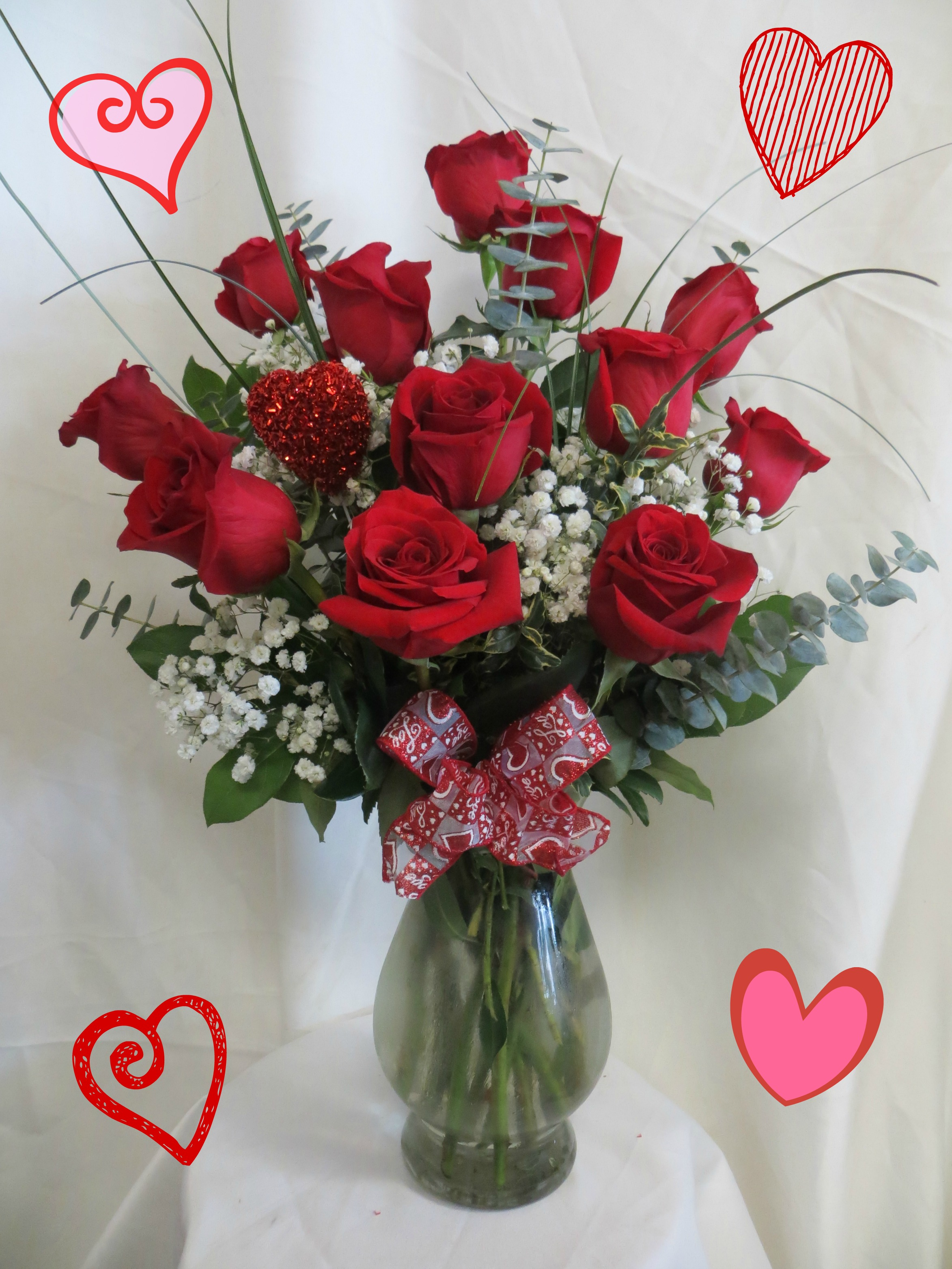 one dozen red roses for valentines day for Pasadena delivery